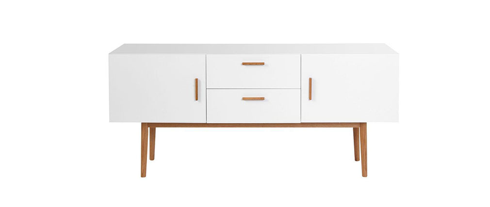GILDA White Natural Wood 2 Door, 2 Drawer Sideboard