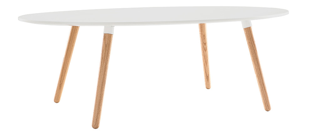 GILDA White Natural Wood Modern Coffee Table