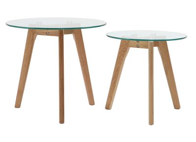 Glass and Oak Nesting Tables DAVOS (set of 2)
