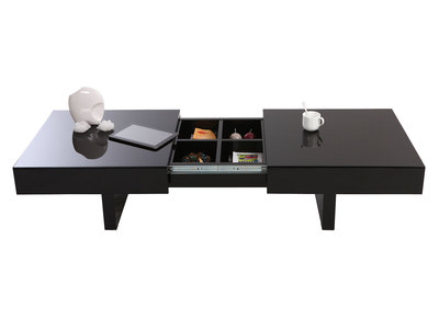 Glossy Black Modern Coffee Table Opening Tray GISSY