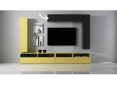 Glossy Charcoal Grey Horizontal or Vertical Wall TV Unit COLORED