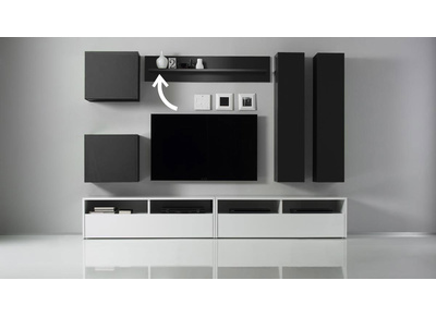 Glossy Charcoal Grey Shelf Unit COLORED