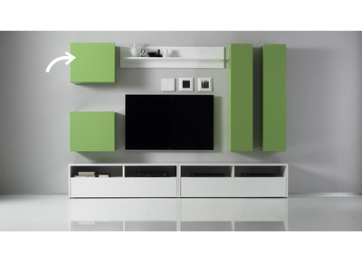 Glossy Green Square Wall Unit COLORED