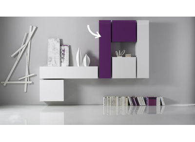 Glossy Lilac Horizontal or Vertical Wall TV Unit COLORED