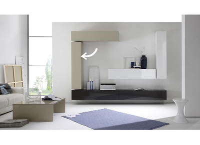 Glossy Off-White Horizontal Or Vertical Wall TV Unit COLORED