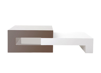 Glossy Taupe Grey Extending Coffee Table LUNA