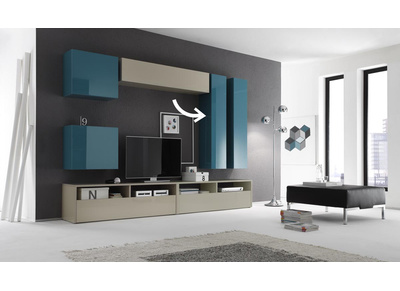 Glossy Turquoise Horizontal or Vertical Wall TV Unit COLORED