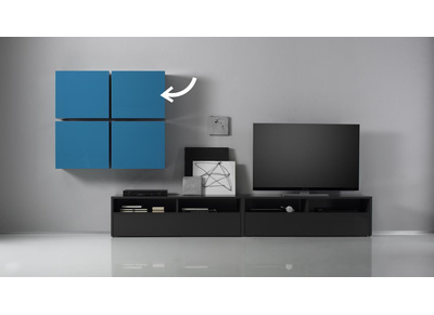 Glossy Turquoise Square Wall Unit COLORED