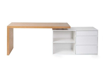 Glossy White and Ash Modern Adjustable Desk NEW MAX