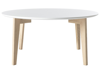 Glossy White and Natural Wood Modern Coffee Table LARGO