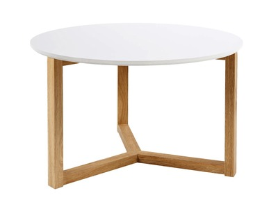 Glossy White and Natural Wood Modern Coffee Table UNITED 90cm
