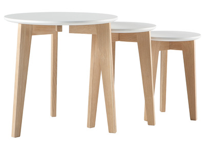Glossy White and Natural Wood Modern Nesting Tables LARGO (set of 3)