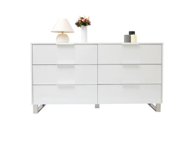Glossy White Modern Chest of Drawers HALIFAX