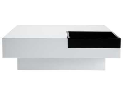 Glossy White Modern Coffee Table with Black Tray TEENA