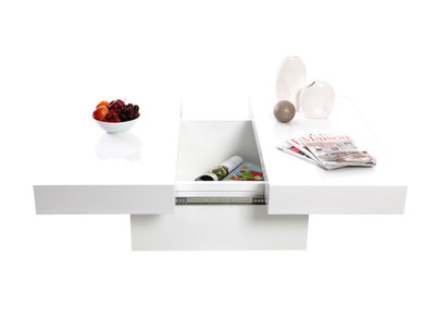 Glossy White Modern Coffee Table with Opening Tray LAUREEN