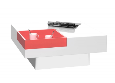 Glossy White Modern Coffee Table with Removable Coral Tray TEENA