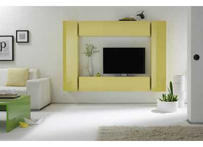 Glossy Yellow Horizontal or Vertical Wall TV Unit COLORED