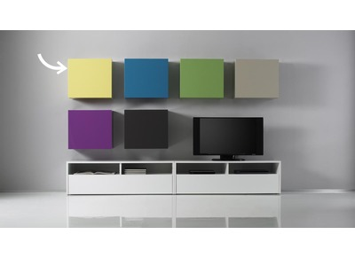 Glossy Yellow Square Wall Unit COLORED