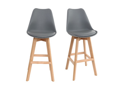 Grey and Wood Modern Bar Stool PAULINE (set of 2)
