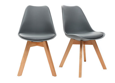 Grey Modern Chairs Wooden Legs PAULINE (set of 2)