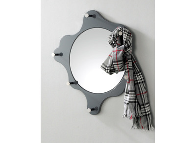 Grey Modern Mirror with Hooks PAINTING