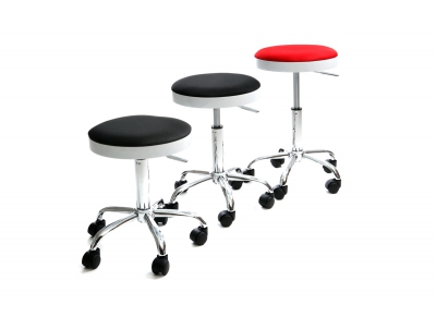 Grey Modern Stool on Casters THEMIS