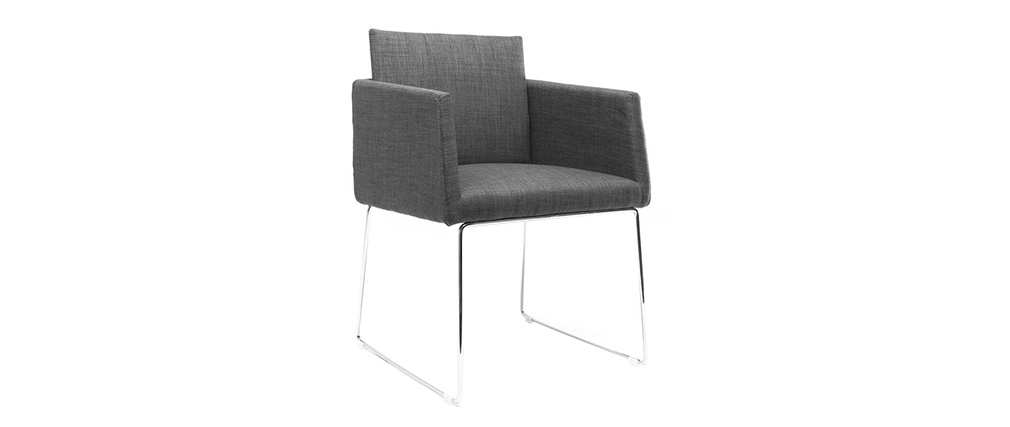Grey Polyester and Chromed Steel Modern Chair NEORA
