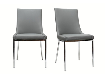 Grey Polyurethane and Chromed Steel Modern Chair IRA (set of 2)