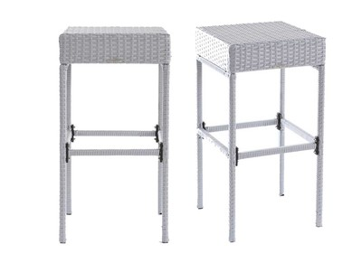 Grey Woven Resin Garden Bar Stool ACAPULCO (set of 2)