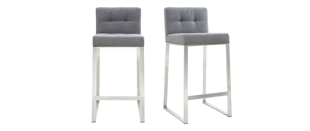 HALEY 66cm metal and dark grey fabric designer bar stool