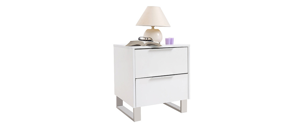 HALIFAX Glossy White Modern Bedside Table