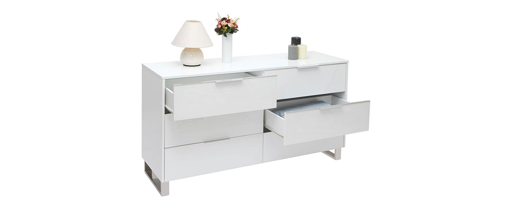 HALIFAX Glossy White Modern Chest of Drawers