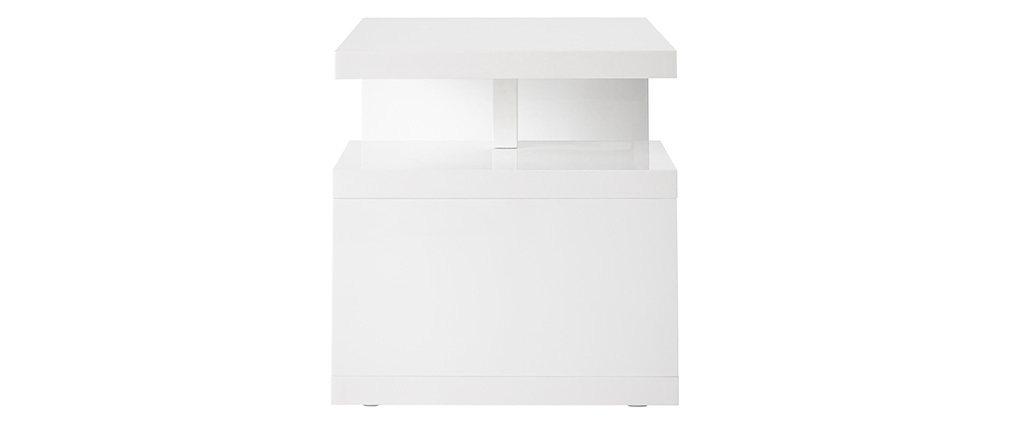HALTON Glossy White Modern Side Table