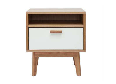 HELIA Scandinavian designer white and wooden bedside table