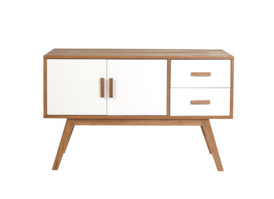 HELIA White Natural Wood 2 Door, 2 Drawer sideboard