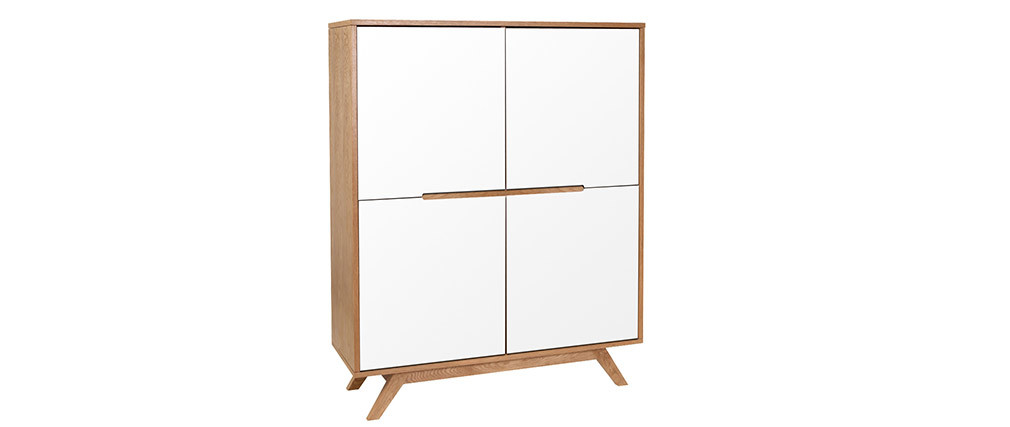 HELIA White Natural Wood 4 Door High Sideboard