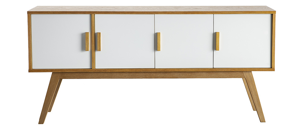 HELIA White Natural Wood 4 Door Sideboard