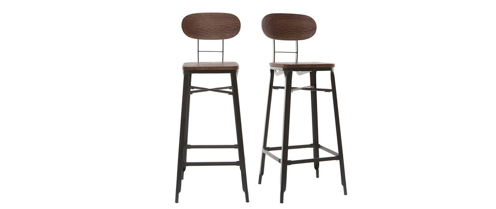 HOCKER set of 2 black metal and wood bar stools 75cm