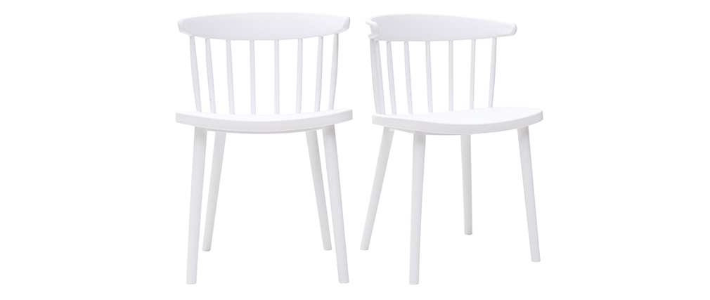 HOLLY set of 2 designer white indoor/outdoor spindle-back chairs