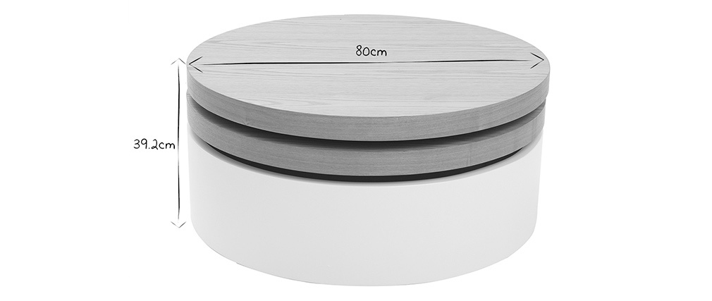 ICON white and wood round coffee table with pivoting table top and storage