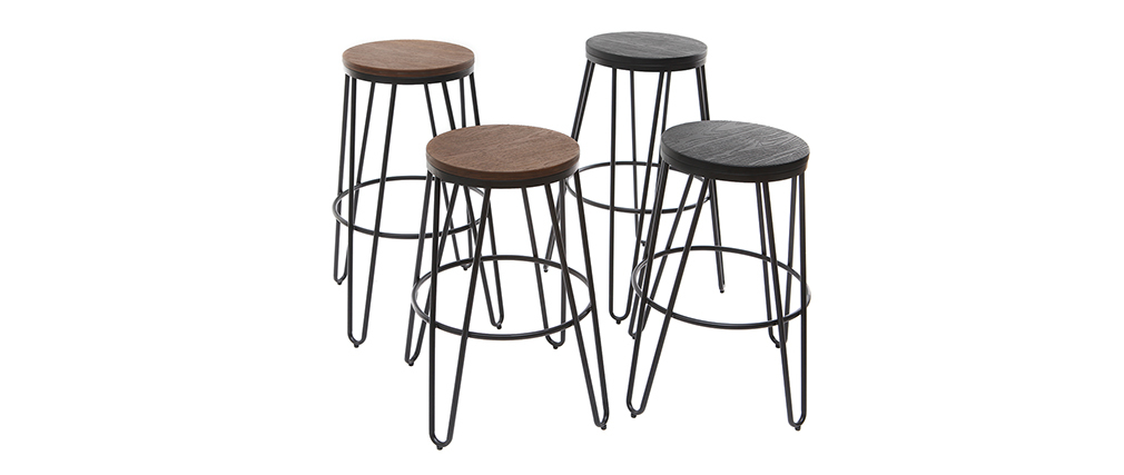 IGLA set of 2 black metal and black wood bar stools 65cm