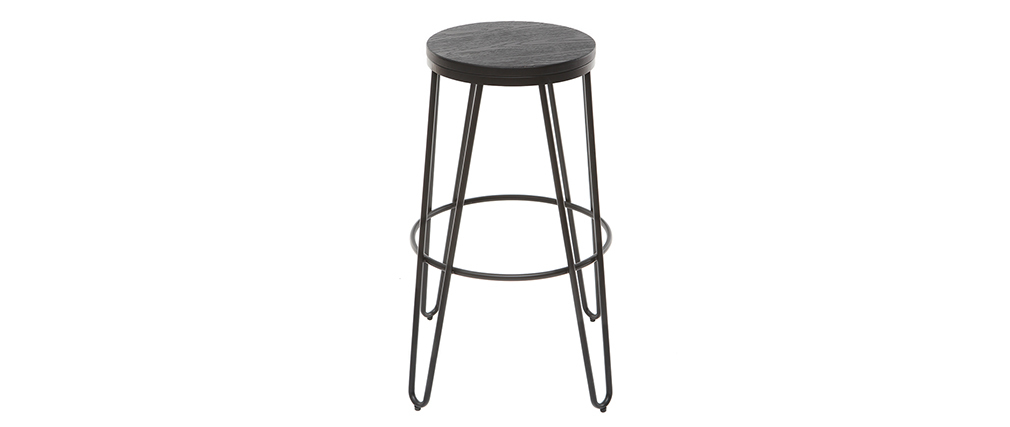 IGLA set of 2 black metal and black wood bar stools 75cm