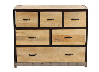 INDUSTRIA Solid Wood Industrial Chest of Drawers