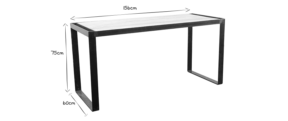 INDUSTRIA Solid Wood Industrial Desk L156