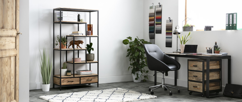 INDUSTRIA Solid Wood Industrial Filing Cabinet