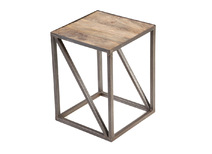 Industrial side table in solid wood and metal ATELIER