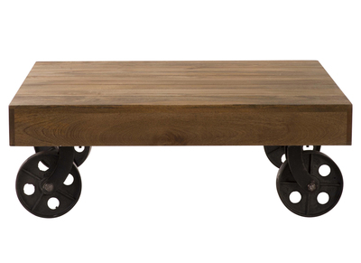 Industrial Squared Coffee Table with Casters ATELIER