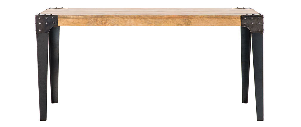 Industrial steel and wood dining table L160 MADISON