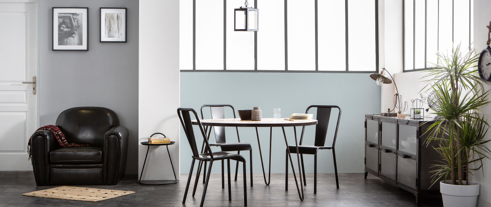 Industrial wood and metal round dining table ATELIER