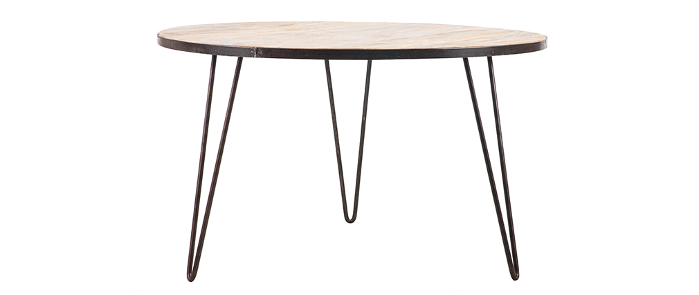 Industrial wood and metal round dining table D125 ATELIER